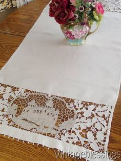 "$48 Antique Castle Linen Point de Venise Lace Runner 48"" x 22"" www.Vintageblessings.com"