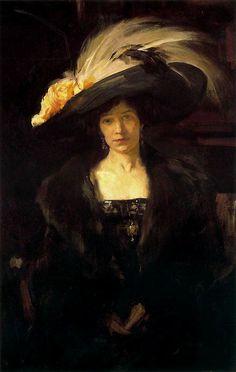 ▴ Artistic Accessories ▴ clothes, jewelry, hats in art - Joaquin Sorolla y Bastida | Clotilde con sombrero