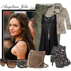 "grn pants, love the blk tank   ""Angelina Jolie"" by pnjbikuri47 on Polyvore"