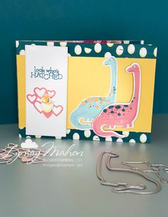 Dinoroar Suite by Stampin' Up! using Designer Series Paper as a card base.