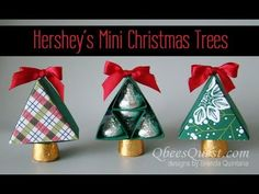 Hershey's Mini Christmas Trees with Gift Box Christmas Candy Gifts, Christmas Party Favors, Christmas Gift Sets, Mini Christmas Tree, Crochet Christmas, Handmade Christmas, Christmas Projects, Holiday Crafts, Stampin Up