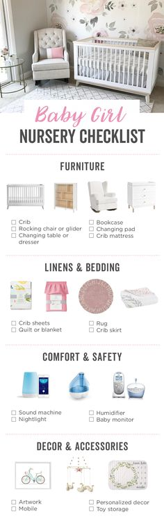 Baby Girl Nursery: The Essential Guide We've compiled this nursery checklist for your baby registry filled with some of our favorite picks to help you complete your baby girl's new room.