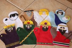 Embellish: {tutorial & free printable pattern} Felt Nativity Hand Puppets
