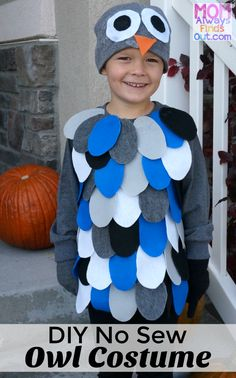 See how to make an adorable DIY Owl Costume for kids. No sewing required! Start with a t-shirt and fabric glue. Easy to make Halloween costumes.