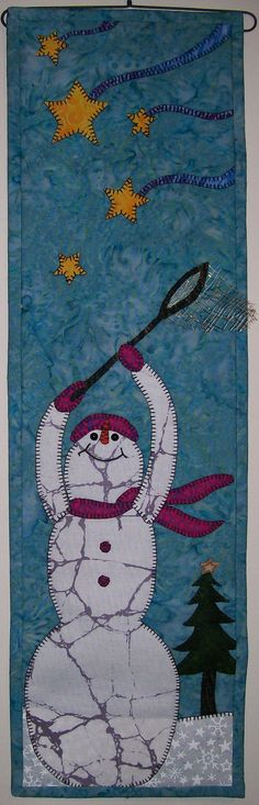 Star Catching - Quilted Wall Hanging Snowman Pattern. $6.50, via Etsy.