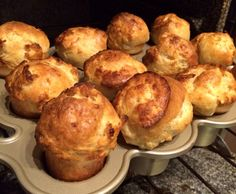 Popovers  2 eggs  1 cup flour (1/2 all purpose, 1/2 whole wheat) 11/4 cup milk  1 tbsp butter  1/2 tsp salt  450F (425 my oven) 12 minutes, 350F(325 my oven) 18 minutes