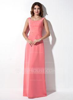 A-Line/Princess Scoop Neck Floor-Length Chiffon Bridesmaid Dress With Ruffle (007001873)