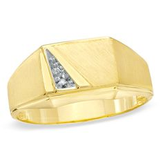 Men's Diamond Accent Rectangle Slant Signet Ring in 10K Gold