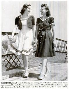 1940 Life Magazine. Love the ruffly hemline and stripes at the hem and sleeves.