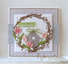 Marianne Design stansmallen Craftables CR1419 Branch wreath | Creatables LR0401 Tiny's Tulip | Creatables LR0515 Willow cats & birdhouse | Pretty Papers bloc PK9152 Herbs & leaves