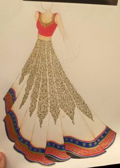 Fashion Illustration Speed Painting with Ink - Drawing On Demand Dress Design Drawing, Dress Design Sketches, Fashion Design Sketchbook, Fashion Design Drawings, Dress Drawing, Fashion Sketches, Dress Illustration, Fashion Illustration Dresses, Indian Illustration