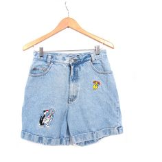 Vintage 90s Stonewashed Looney Tunes High Waist Denim Jean Shorts m l (2,345 PHP) ❤ liked on Polyvore featuring shorts, bottoms, denim, short, high-waisted shorts, high rise shorts, vintage high waisted shorts, short denim shorts and vintage denim shorts
