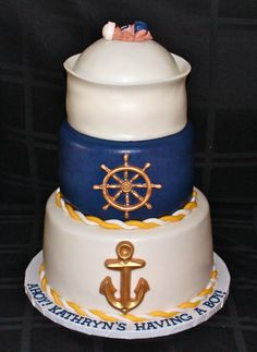 Nautical Baby Shower Cake  Cake by CuteologyCakes