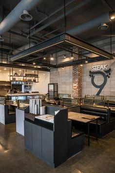 큐플레이스 :: 외식 상공간 전문 인테리어 Coffee Shop Interior Design, Coffee Shop Design, Cafe Design, Loft Interior, Design Studio Office, Industrial Office Design, Restaurant Concept, Modern Restaurant Design, Ceiling Design