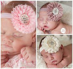 Bebé diadema conjunto de 3 diademas de bebé bebé por ThinkPinkBows, $12.95