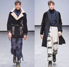 James Long 2015-2016 Fall Autumn Winter Mens Runway Catwalk Looks - London Collections: Men British Fashion Council UK United Kingdom - Denim Jeans Shearling Outerwear Trucker Jacket Jogger Sweatpants Turtleneck Cargo Pants Lace Sneakers Straps Embroidery Patchwork Shirt Pants Hoodie Raw Hem Threads Knit Chunky Sweater Jumper Coat Velvet Quilted Leggings Under Shorts Face Artwork Painting Robe Side Zipper