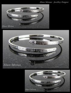 Diamond sterling silver textured open bangle. Bangles & bracelets - Alison Salzman - Jewellery Designer