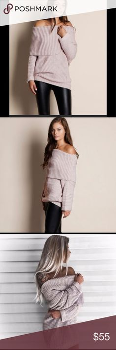 Off the Shoulder Sweater Get this great sweater for fall! Wear with your favorite leggings or jeans or pair with a cute pair of booties and wear as a dress! This sweater is available in small medium and large! This pinkish Color is a hot color for this fall!         The only discount available on this item is the bundle discount! Sweaters
