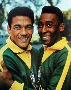 "Garrincha: ""I am smiling for the camera."" Pele: ""Can you believe this? Look! I'm getting my picture taken with Garrincha!"""