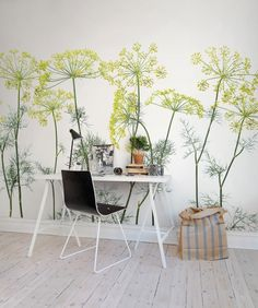 Mural de pared Crown Of Dill imagen 2 por Rebel Walls Botanical Wallpaper, Modern Wallpaper, Home Wallpaper, Bedroom Wallpaper, Fabric Wallpaper, Flower Wallpaper, Designer Wallpaper, Mural Floral, Floral Wall