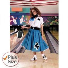 Plus Size Poodle Skirt Blue - Womens Plus Size Costumes