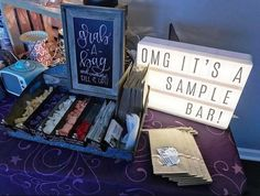 Cute idea for Scentsy Sample Bar for home party or open house. Love the movie theater marquee!