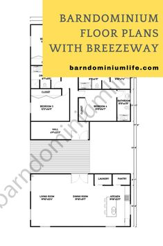 Breezeways are trending now among current and future homeowners, albeit for various reasons: increased ventilation, protection from the elements, and outdoor entertaining. If you're one of them and you already own a barndominium or are planning to construct one, then you're in luck! We've curated 8 floor plans specially designed for barndo homes with a breezeway. Some are perfect for large families, while others are more appropriate for medium-sized household. Check out them on attached article! Barndominium Floor Plans, Aging In Place, Breezeway, Build Your Dream Home, Master Closet, Home Based Business, Common Area, Creative Design, Family Room