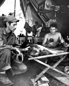 American marine Petting his dog mortally wounded by a Japanese sniper on the island of Bougainville, Solomon Islands 1944
