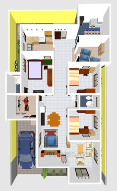 New Ideas For Bath Room Interior Architecture Floors 3d House Plans, Home Design Floor Plans, House Blueprints, Home Room Design, Dream House Plans, Minimalis House Design, Single Storey House Plans, Small Cottage Homes, Apartment Decorating Themes