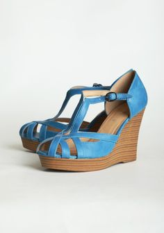 "Lifetime Platform Wedges By Chelsea Crew 64.99 at shopruche.com. These cheerful faux leather wedges in blue will add the perfect touch of color to your outfits. Finished with a stacked faux wooden heel and an adjustable strap.  All man-made materials, 4"" heel, 1"" platform, Cushioned heel, ,"