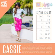 LuLaRoe Cassie Sizing Chart and Price