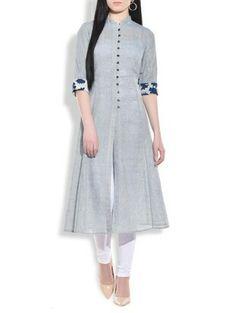 Stone blue flared lung jute kurta - 9772869 - Very Small Image - 1 Salwar Designs, Kurta Designs Women, Kurti Neck Designs, Dress Neck Designs, Kurti Designs Party Wear, Blouse Designs, Long Kurta Designs, Modele Hijab, Indian Designer Wear