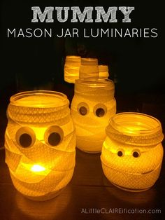 Mummy Mason Jar Luminaries and Googly Eye Jars - more fun Halloween Craft Ideas from our Halloween In A Jar Series!