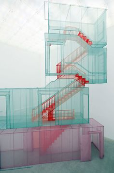 Do Ho Suh Corridor and Staircases (Kanazawa version), 2012 Polyester fabric, metal armature  (via the absolute COLOUR blog…)