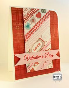 Valentine's Day card made with:    - Gina K. Designs Pure Luxury 120 lb Base Weight White card stock  - Gina K. Designs Cherry Red card stock  - Gina K Designs Innocent Pink card stock  - Gina K. Designs Lovely Ladybug stamp set by Bethann Erin Silaika  - Gina K. Designs Perfect Plaids stamp set by Tami Mayberry    I made the background panel with strips of designer paper from Carta Bella's Devoted 6x6 paper pad.    http://www.cardcraftyclub.blogspot.com/