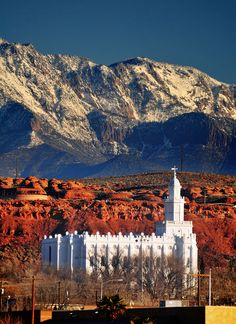 Absolutely stunning with the snow capped mountains, red rocks, and the white temple. Beautiful! St. George Mormon/LDS Temple