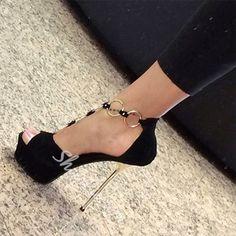 Sexy Metal Decoration Stiletto Platform Sandals #stilettoheelspumps