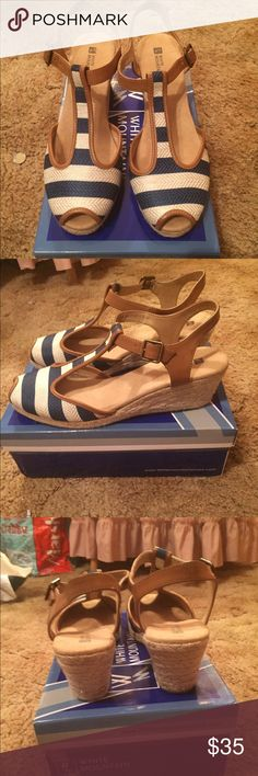 White Mountain nautical peep toe wedges Sz 11 White mountain blue and white print wedges Sz 11 worn once!!!! These wedges are about 3 inches with an espadrille feel to them. Comes with box!!!! New condition! white mountain Shoes Espadrilles