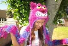 Cheshire Cat Hat AND Scarf Set ready to ship by SillyHatsByRosie, $40.00