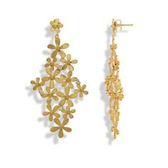 Handmade Gold Plated Silver Long Earrings Flowers - Anthos Crafts - 1