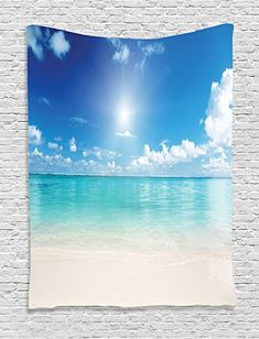 Bedroom Living Kids Girls Boys Room Dorm Accessories Wall Hanging Tapestry Solitude Peaceful Beach Scene with Blue Ocean and Cloudy Sky Pattern Ambesonne Ocean Decor Collection Aqua Blue Ivory