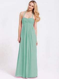 Pin to Win a Wedding Gown or 5 Bridesmaid Dresses! Simply pin your favorite dresses on www.forherandforhim.com to join the contest! | Long Halter Chiffon Dress $189.99