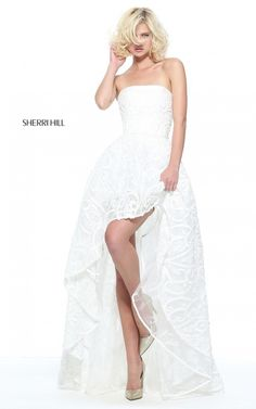 Ivory Sherri Hill 51208 Strapless A Line Long Prom Dress