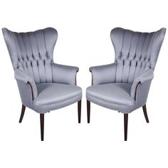 Sophisticated Pair of 1940's Hollywood Tufted  Channel Back Occasional Chairs | From a unique collection of antique and modern wingback chairs at http://www.1stdibs.com/furniture/seating/wingback-chairs/