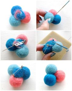 How to make a needle felted brooch step by step How To: Needle Felted Molecule Brooch Needle Felted Ornaments, Felt Ornaments, Felt Diy, Handmade Felt, Yarn Crafts, Felt Crafts, Felt Bracelet, Cuff Bracelets, Bow Making Tutorials