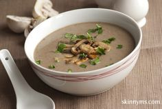"Cremini Mushroom Soup - This is my ""go to"" soup when I need a can of mushroom soup for a recipe. Way buy canned soup with all the unhealthy ingredients, when you can make this clean eating version? And, it's only 71 calories for one bowl. #cleaneating #lowcalorie #weightwatchers"