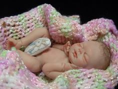 OOAK MINIATURE 3 INCH POLYMER CLAY FULL SCULPT BABY GIRL ART DOLL