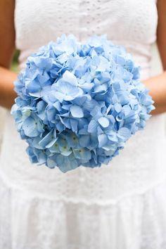 Simple But Lovely Wedding Bouquet Of Blue Hydrangea (Hortensia)