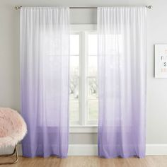 For a relaxed and versatile look, our Ombre Sheer Curtain Panel completes the room. This sheer gently filters out natural light and adds sophisticated ambiance to your space. Teen Curtains, Small Curtains, Curtains Living, Girl Bedroom Designs, Room Ideas Bedroom, Bedroom Decor, Turquoise Curtains, Purple Curtains, Teen Decor