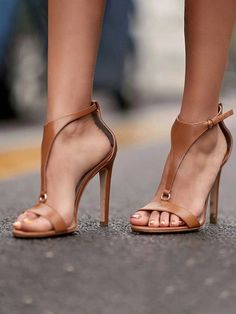 cb2e2ca6274d Shop Solid Buckled T-Strap Thin Heeled Sandals right now